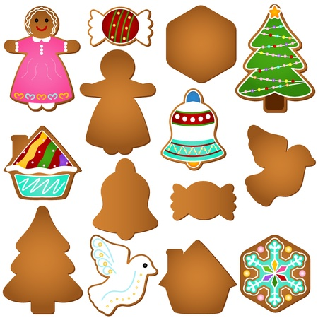 A colorful set of Icons : Gingerbread (Christmas festival biscuit - cookie)  Stock Vector - 12119575