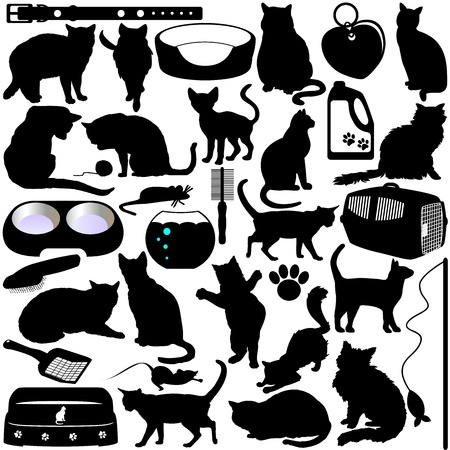 Silhouettes of Cats, Kittens and Accessories Vector