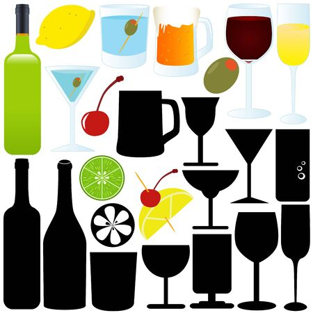 A Silhouette of bottle, glass, container, Cocktail Vector