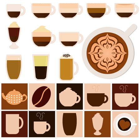 A set of Hot Beverages - Coffee, Tea, Chocolate  Vector