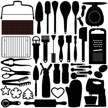 pasteles: Una colecci�n de siluetas de cocina, herramientas de cocci�n