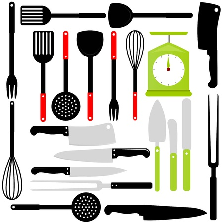 Silhouet van keukengerei, messen, bakken apparatuur Vector Illustratie
