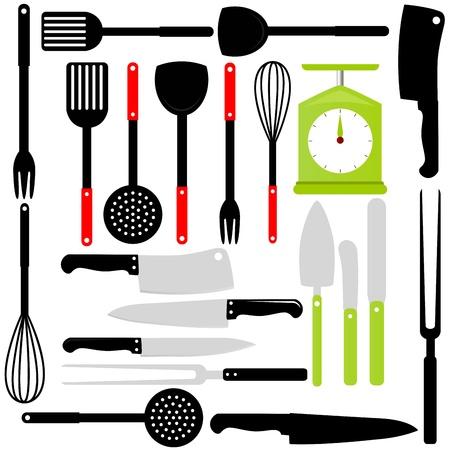 viande couteau: Silhouette de la cuisine ustensiles, couteaux, �quipements de cuisson