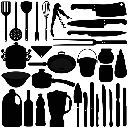 A silhouettes collection of Baking, Cooking Tools  Vector