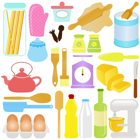 cute Icons : Cooking, Baking Theme, isolated on white  Illustration
