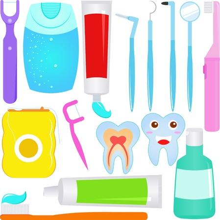Linda: Atención dental (dientes) Iconos del dentista Ilustración de vector