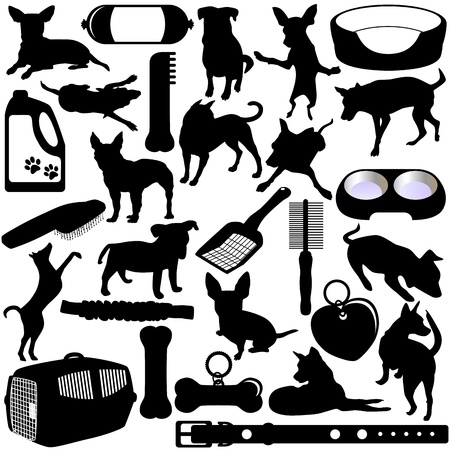 Silhouettes of Dogs, Puppies and Accessories Vector
