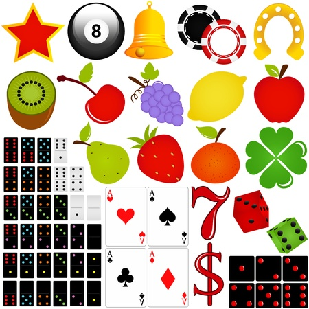 icon set Casino and Gambling isolated on white  Vector