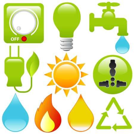 Icons: Energy Saving, water, electricity, solar power Vector