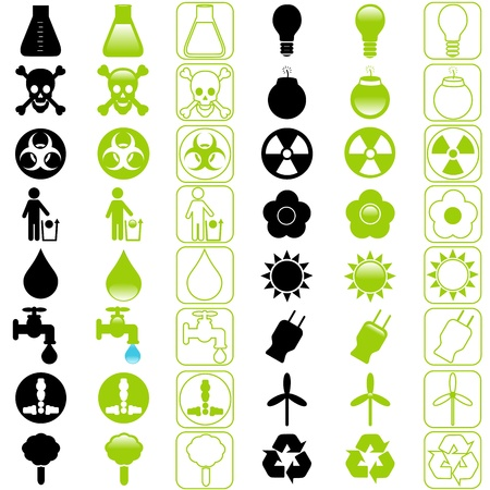 hazardous waste: A set of icons : Energy and Environmental Conservation