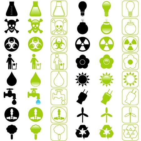 afvalbak: Een set van pictogrammen: Energy and Environmental Conservation Stock Illustratie