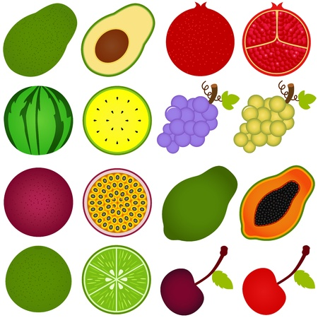 fruit cartoon: A collection of Fresh fruit cut in half isolated on white