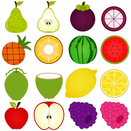 A collection of Fresh fruit cut in half isolated on white