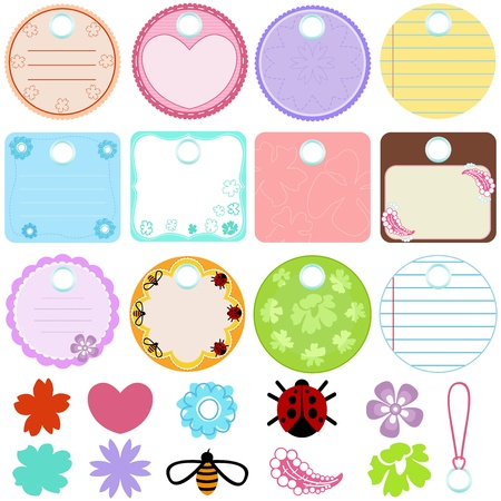 A Cute Collection of Blank Labels. pastel Tags Stock Vector - 12119608