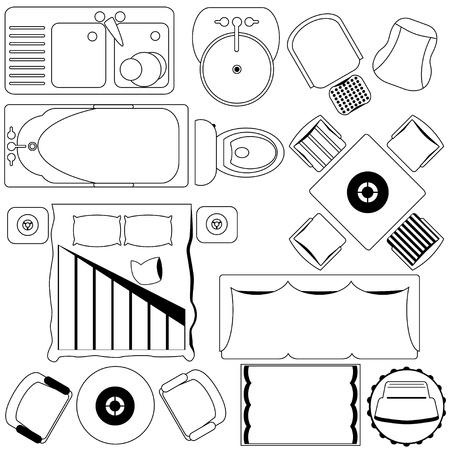 Pictogrammen: Eenvoudige Meubelen / Plattegrond (schets)