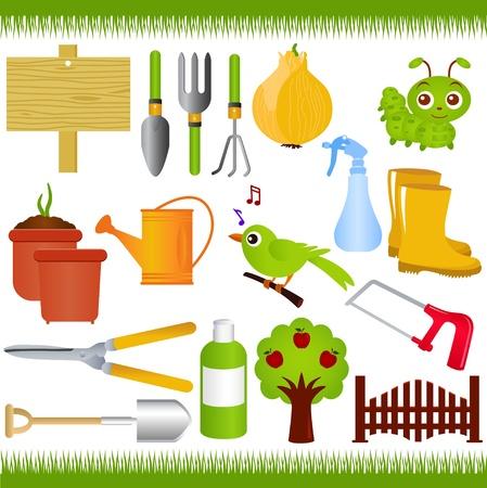 Iconos: Jardinería, y herramientas de jardinería o equipos Ilustración de vector