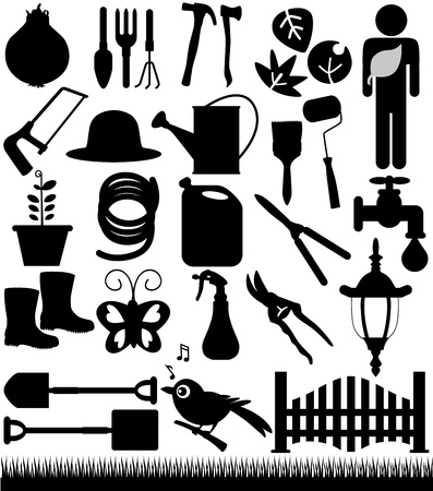 water hoses: A set of Vector Silhouette - Shovels, Spades, and Garden tools  Illustration