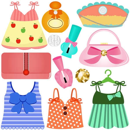 cute vector Icons : Dresses, Bags, Accessories for girls  Иллюстрация