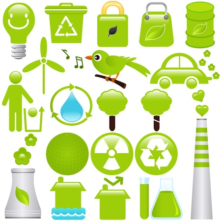 hazardous waste: A set of Vector icons: Energy and Environmental Conservation Illustration