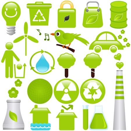 danger chimique: Un ensemble d'ic�nes vectorielles: l'�nergie et conservation de l'environnement Illustration