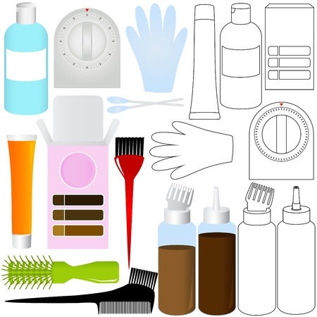 tinte cabello: Una Silueta Vector  Esquema de Productos para el pelo Kit para colorear Vectores