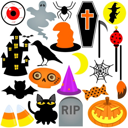 Colorful Halloween Festival Theme, Icons  Design Elements  Vector