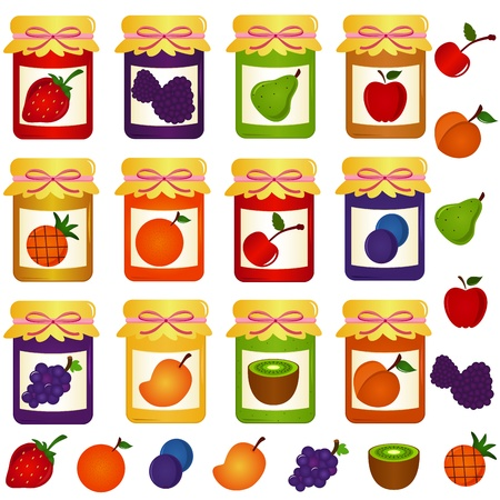 strawberry jelly: vector Icons: Bottles of home-made Jam (jelly)