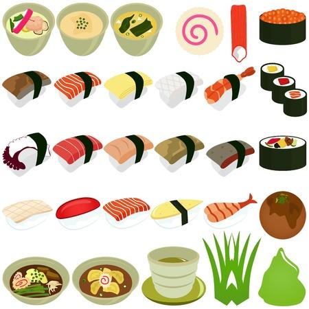 sushi roll: Un set di icone vettore alimentari: Cucina giapponese - Sushi, Soup Vettoriali