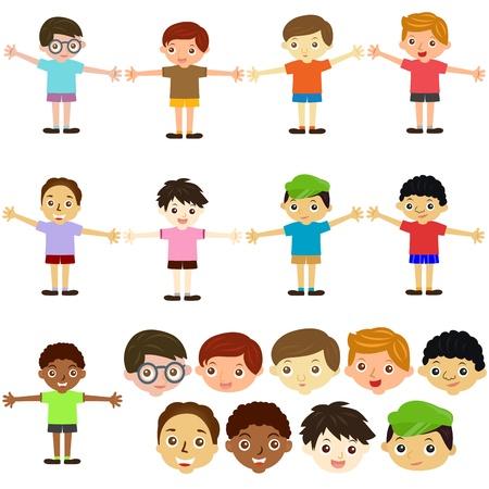 familia asiatica: Un tema de iconos vectoriales lindos: Ni�os, Hombre, Ni�os (Juego de Mujer)
