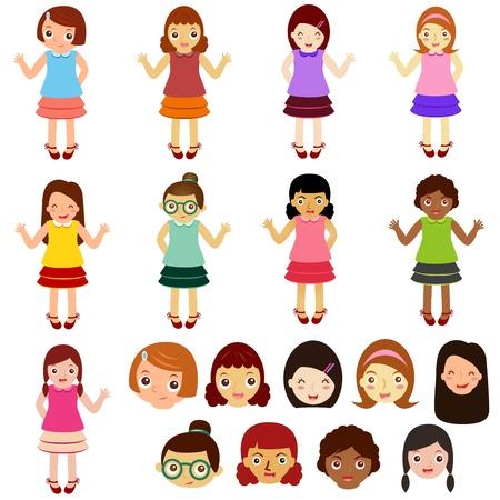 かわいいベクトルのアイコンのテーマ: 女の子、女性、子供たち (女性の設定)