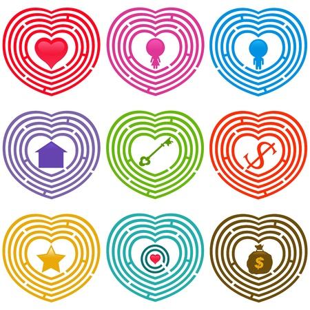 A colorful set of Maze Icons : Targets for life, Labyrinths isolated on white  Vector
