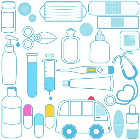 Cute vector icons: Medicines, Pills, Medical Equipments, Blue outline Vector