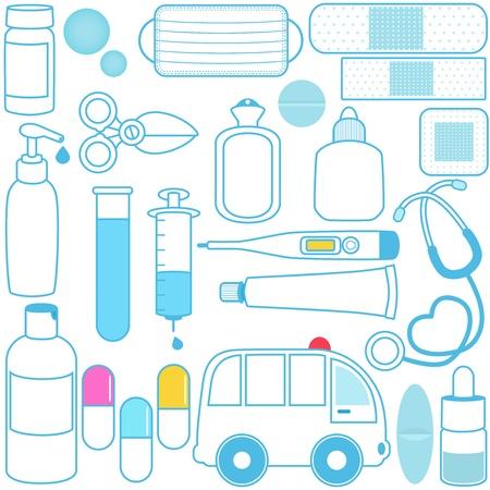 hilfsmittel: Nette Vektor-Icons: Medikamente, Pillen, Medizinische Ausr�stungen, blau umrandet Illustration