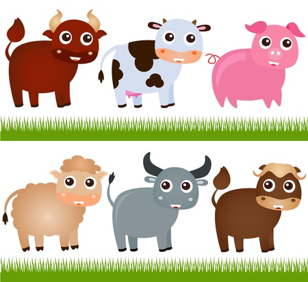 A colorful Theme of cute vector Farm Animals, on white  Vector