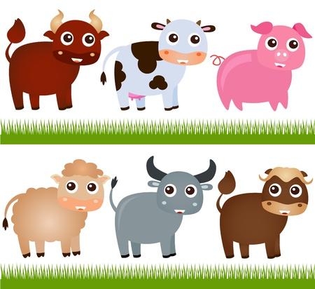 buffalo grass: A colorful Theme of cute vector Farm Animals, on white  Illustration