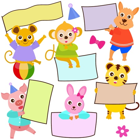 illustrator: Animal Theme of cute vector Icons  tag : Blank frame in pastel  Illustration