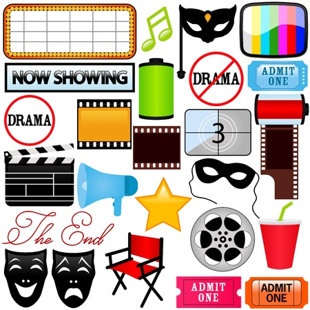theatrical: Theme of Icons : Drama, Entertainment, Film, movie Illustration