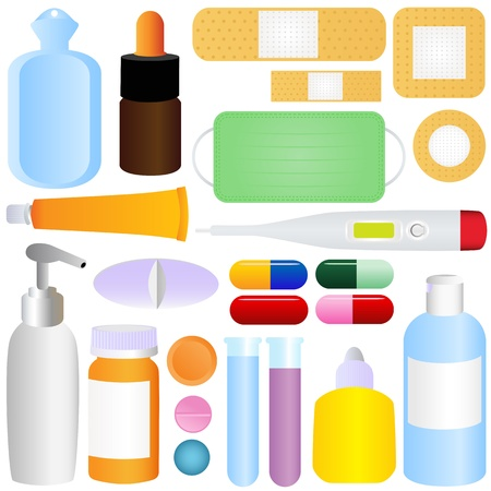 Cute icons: Medicines, Pills, Medical Equipments   Vector