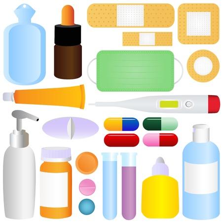 medical bottle: Cute icons: Medicines, Pills, Medical Equipments