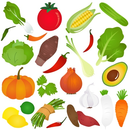 Colorful Cute Icons :  Fruits, vegetable, food Vector