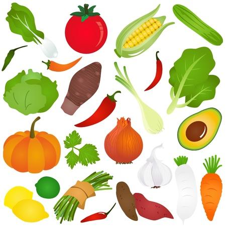 Kleurrijke Cute Icons: fruit, groente, voedsel