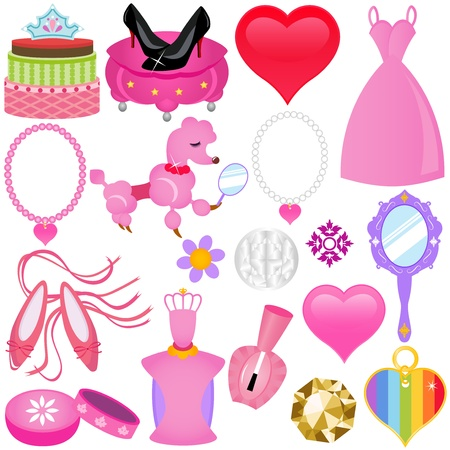 woman in mirror: A colorful set of Icons : Sweet Pink Princess Set for Diva