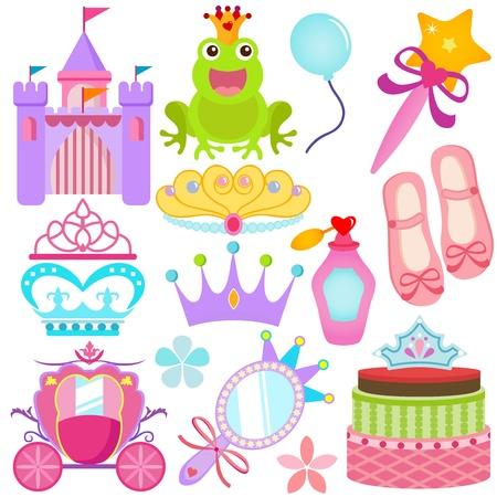 castillos de princesas: Un conjunto de colores de los iconos: Sweet Set Princesa Vectores