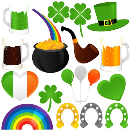 A set of Icons : Saint Patricks Day, cold beer  Vector