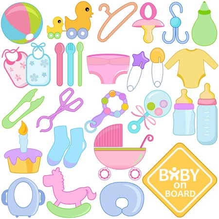 A collection of Accessories for Mom and Baby Vector