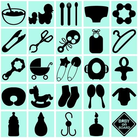 hygi�ne alimentaire: Une collection des silhouettes d'accessoires pour maman et b�b� Illustration