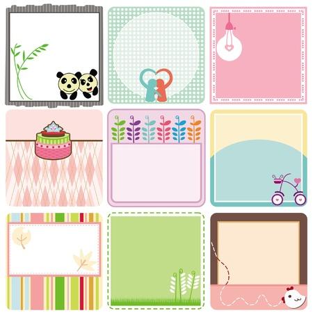 cute border: Una collezione di etichette vuote Carino. Un set di tag pastello isolato su bianco.
