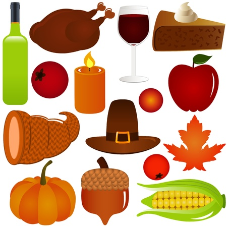 pastel de manzana: Acci�n de Gracias  Oto�o iconos vectoriales temporada, aislado en blanco