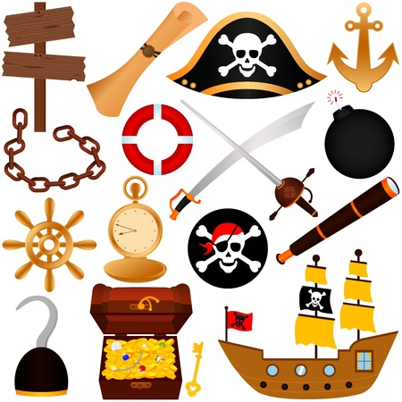 gold treasure: A colorful vector Theme of Pirate, equipments, sailing