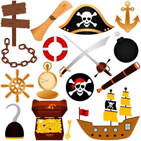 schatkaart: Een kleurrijke vector Thema van Pirate, apparatuur, zeilen